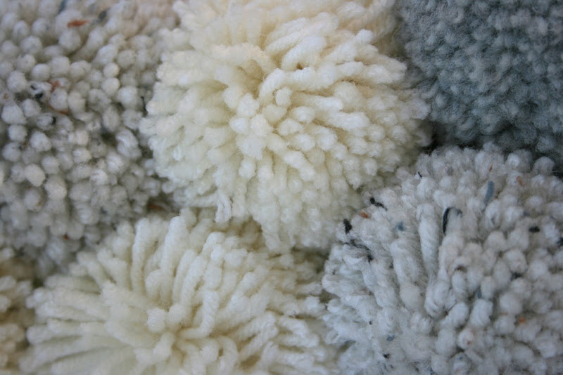 close up of pom-poms