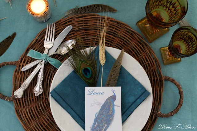 peacock table silverware