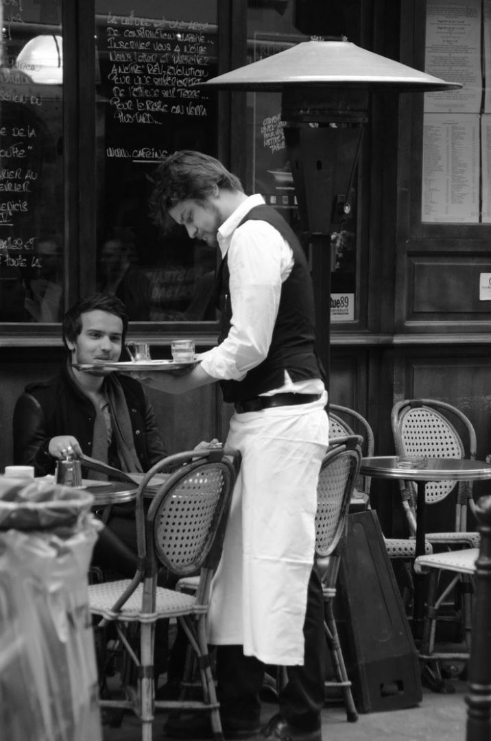 French Waiter Wearing Apron