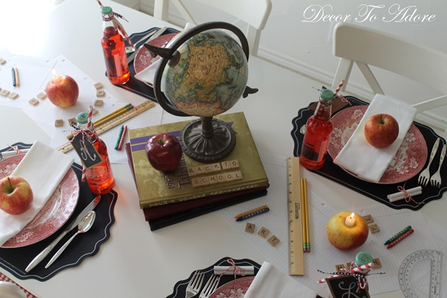 Fall Home Tour 2015 school themed table