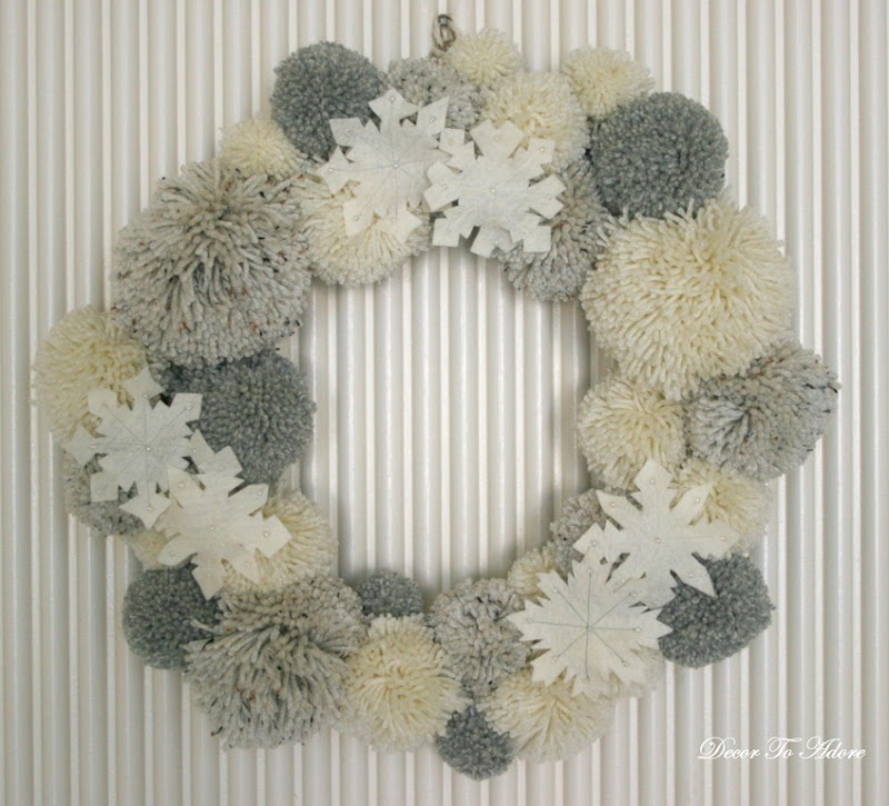 Pom pom wreath with snowflakes