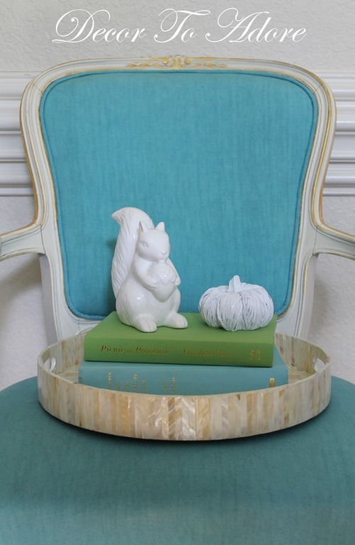 Fall Home Tour 2016 squirrel on chair