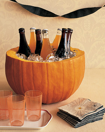 Use a carved pumpkin as an ice bucket.
