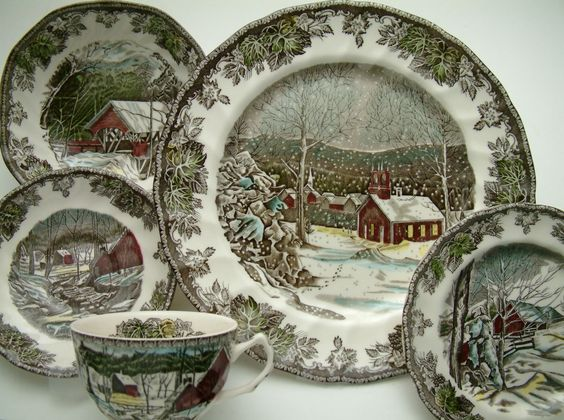 Johnson Brothers, Transferware and Toile Friendly Village