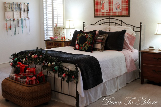 Cozy Christmas bed with pillows