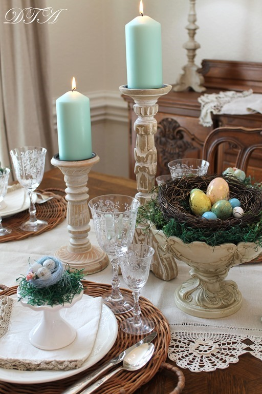 Easter table candlesticks