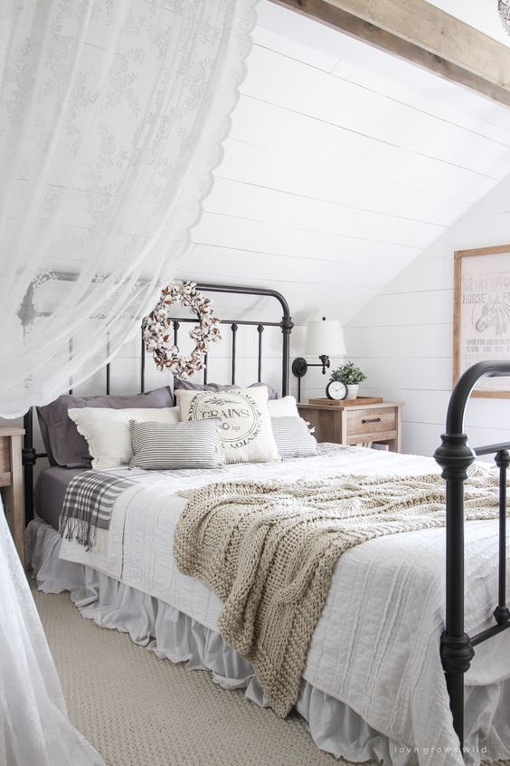 A beautiful farmhouse bedroom decorated with simple touches of fall!