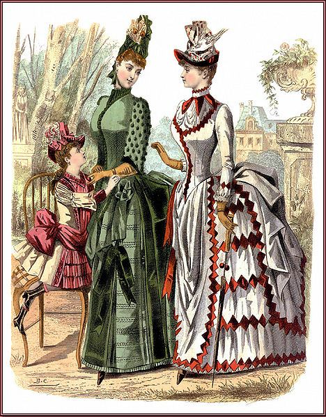 Inspiration For An 1880's Calico Bustle Dress and Bonnet