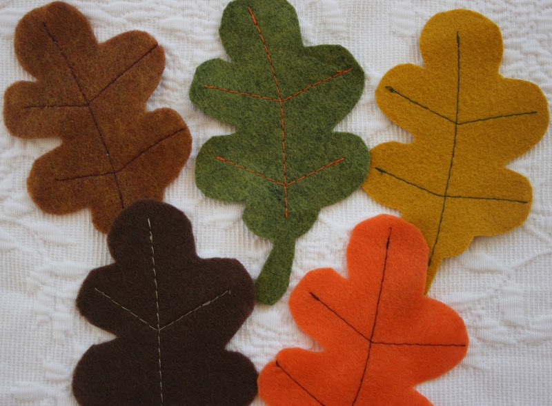 fall felt leaves in several colors