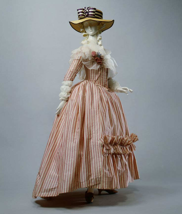 Red & white summery striped silk French Robe à l'Anglaise, 1785–87, with an oh-so perfect hat. @MetMuseum, Acc.#: C.I.66.39a, b