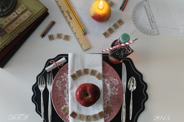 Fall Home Tour 2015 school themed table place setting