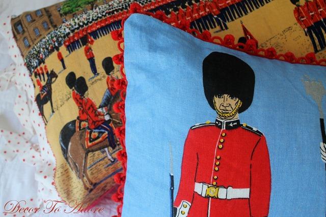 Fall Home Tours 2015 British tea towel pillows