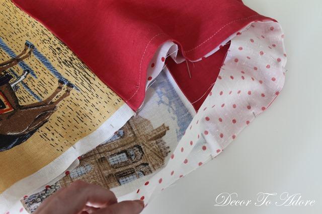 Sew two fabrics
