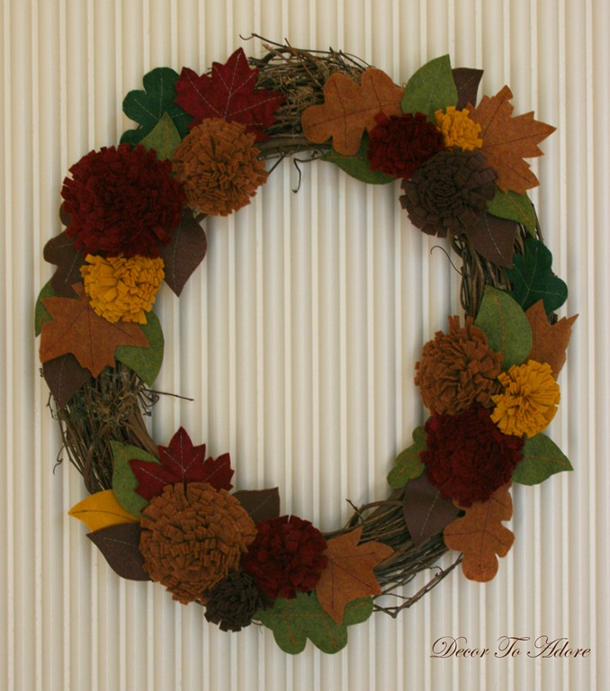 fall wreath hung