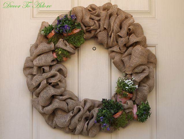 spring wreath with fresh flowers