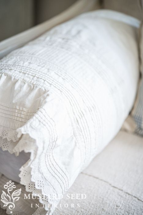repurposing a petticoat as a bolster cover | miss mustard seed