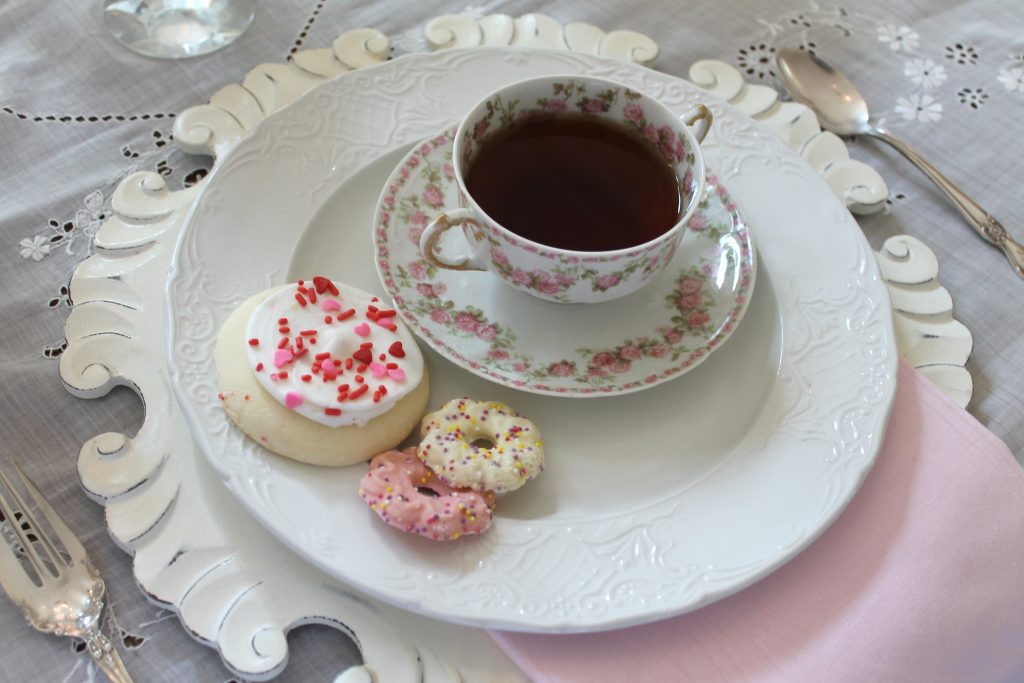 Valentine's Day tea table setting
