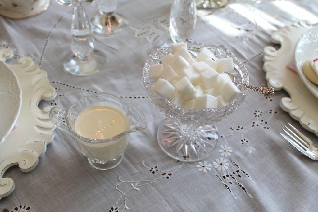Valentine's Day Tea cream and sugar
