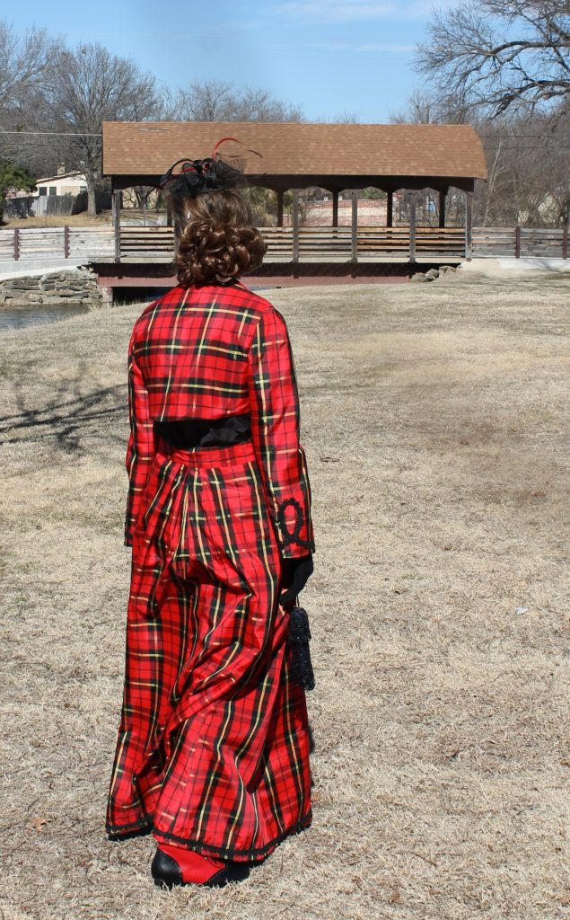 Victorian Valentine Walking Suit Plaid Taffeta