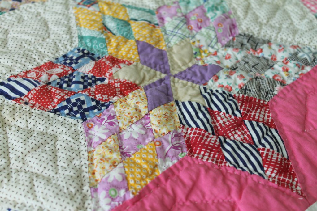Pink star quilt