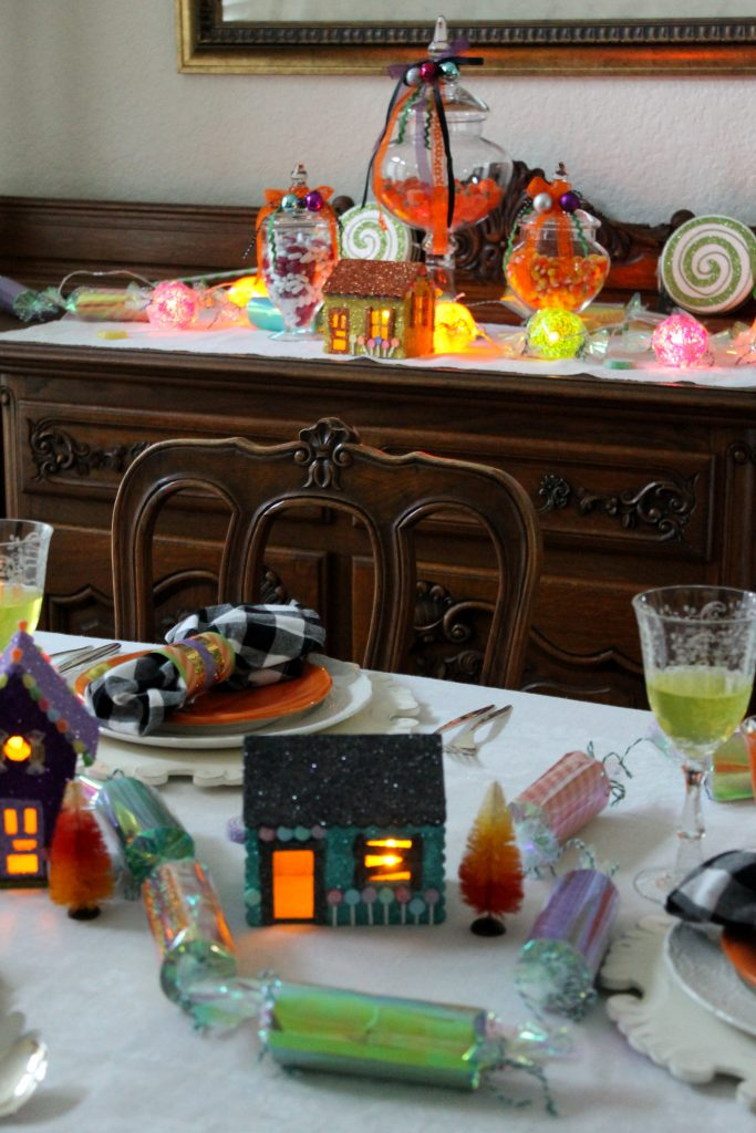 Hansel and Gretel Tablescape at night