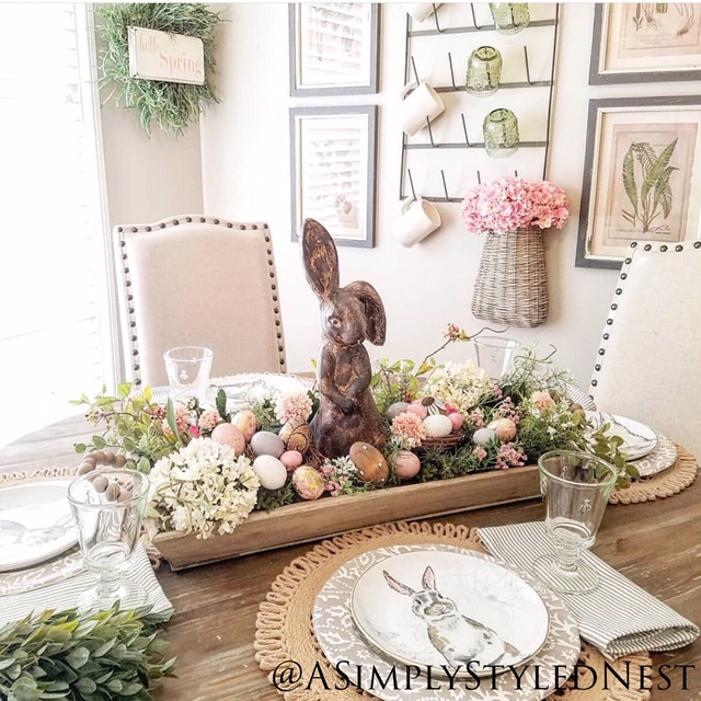 a simply styled nest centerpiece