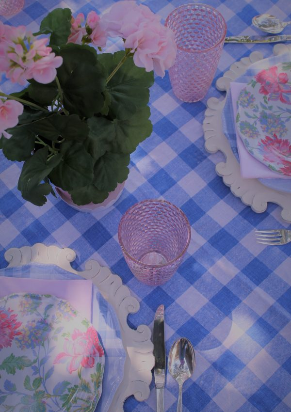 Blue Gingham In The Garden