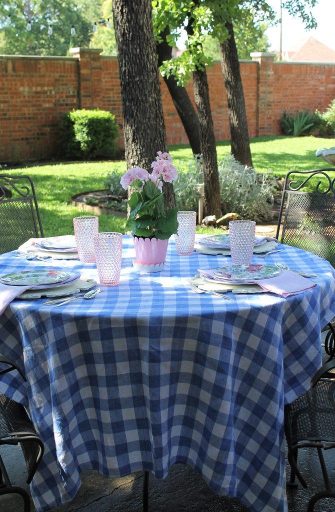 Blue Gingham In The Garden